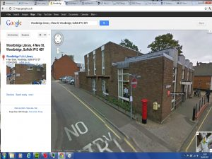 The vanished postbox - by the Woodbridge old library - as seen on Google street view, today, 26 April 2012
