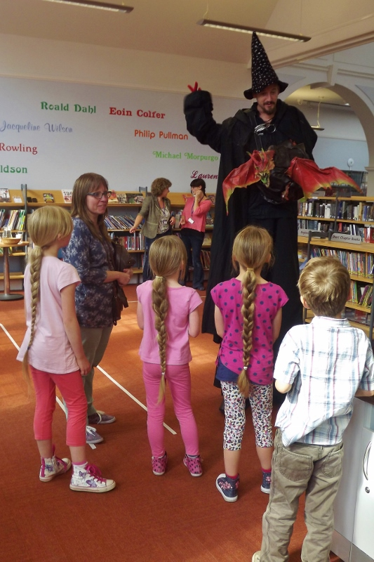 The Magic Giant and Firebreathing Dragon at the Woodbridge Library Reading Scheme Awards 2014
