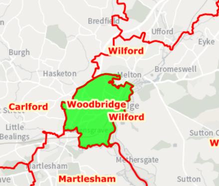 New Woodbridge County Boundary  defined